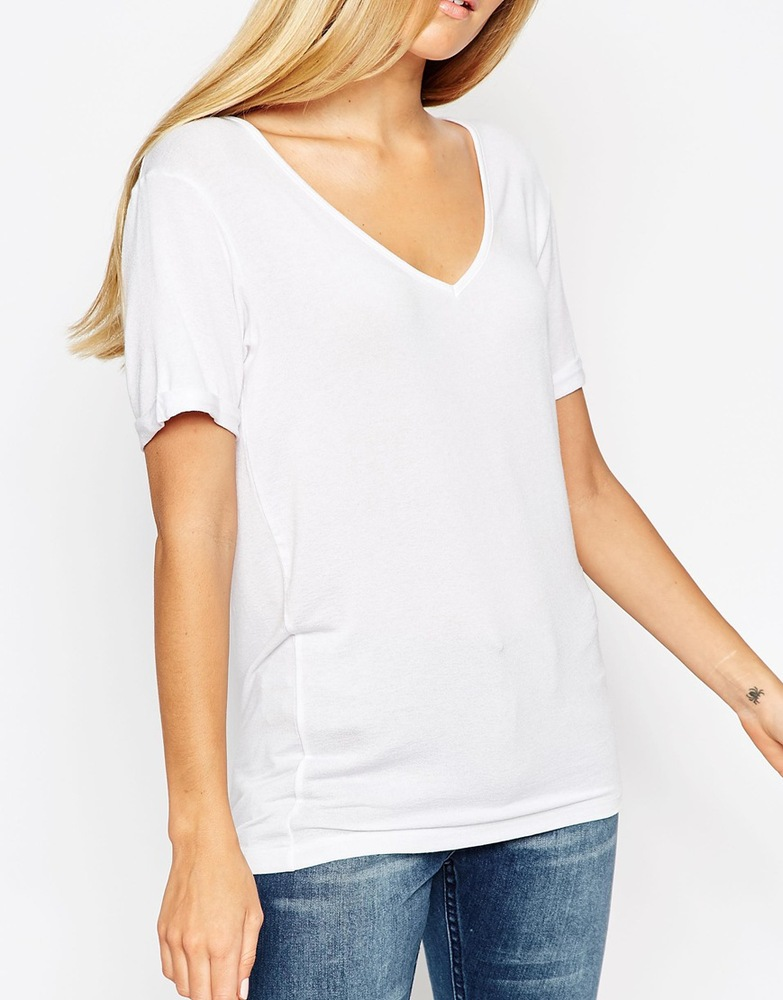 2015 Custom High Quality V Neck Black Plain Latest T Shirt