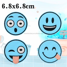 adhesive poop patch clothing, stick-on embroidered custom emoji poop smile face patch emoji embroid patch