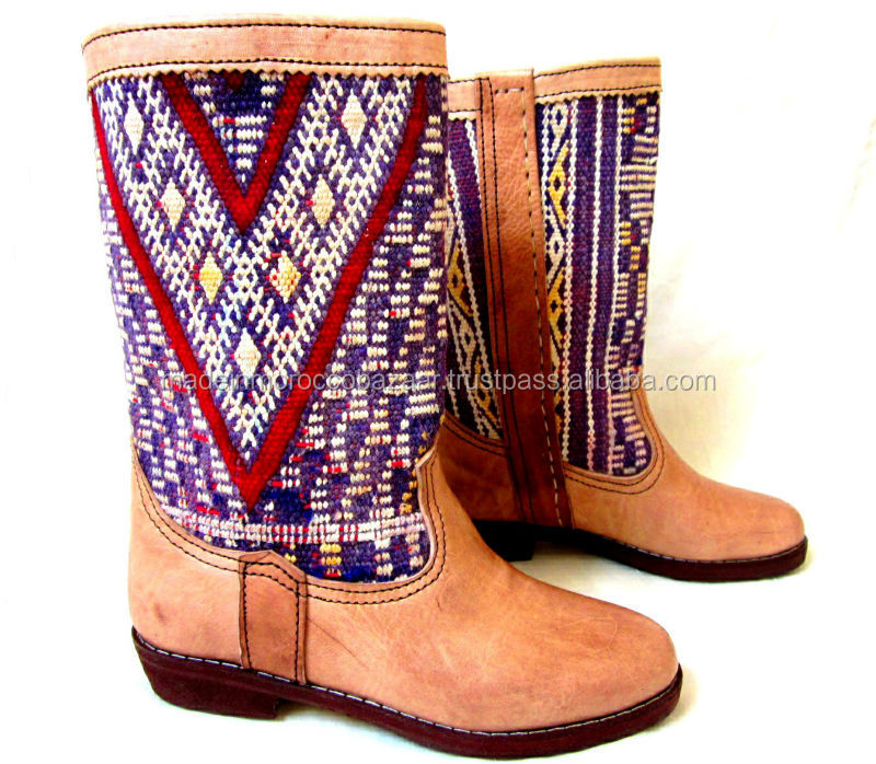 Adorable Moroccan Handcrafted Genuine Leather Mid Calf Kilim Boots