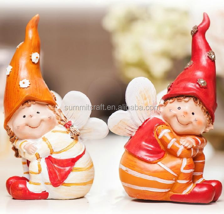 Hand painted lovely resin sitting baby angel figurines