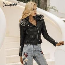 Simplee women streetwear fashion faux leather jacket with basic fur collar