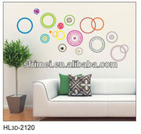Hot Sale Sticker Colorful Circles Art Wall Sticker Decals Wall Papers Enjoying Life Quotes Removable Wall Decals KW- HL3d-2120