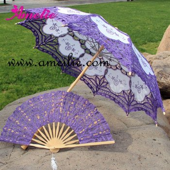 Victorian purple lace parasols and fans