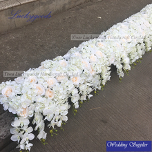 LFB365 LFB411 customized handmade champagne rose white hydrangea wedding walkway flower with butterfly orchid