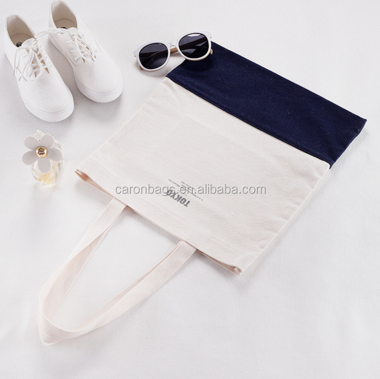 japan natural fabric black striped organic cotton shopping tote bags with logo pouch inside