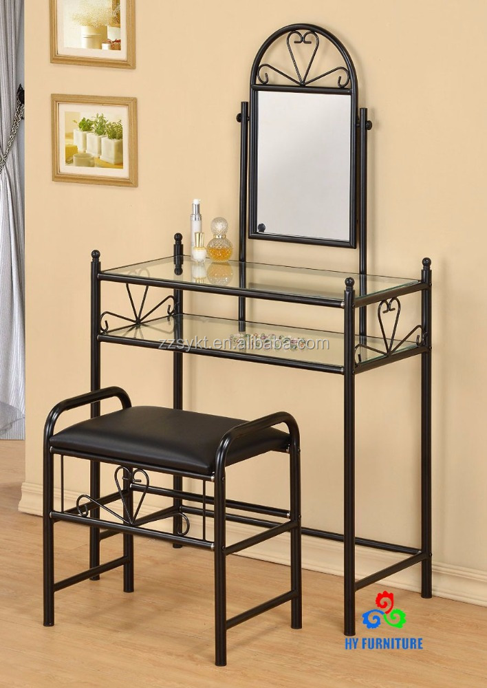 Metal makeup mirrored vanity dresser table and stool set wholesale