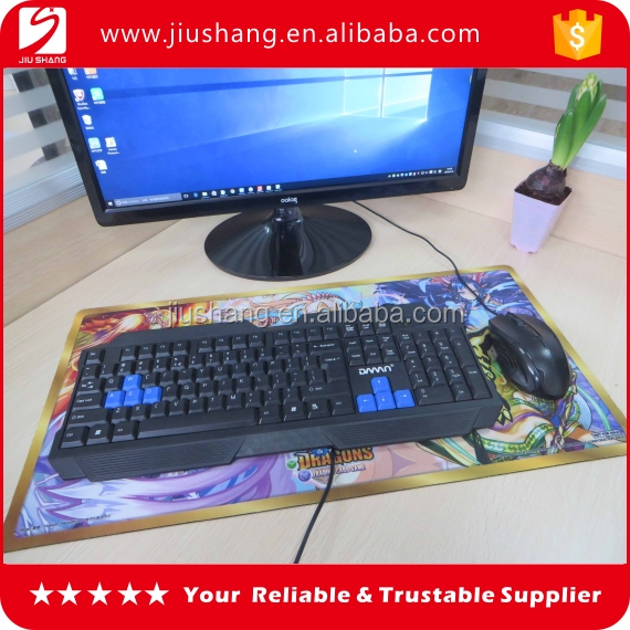 Custom large gaming keyboard mouse pad with polyester fabrics surface