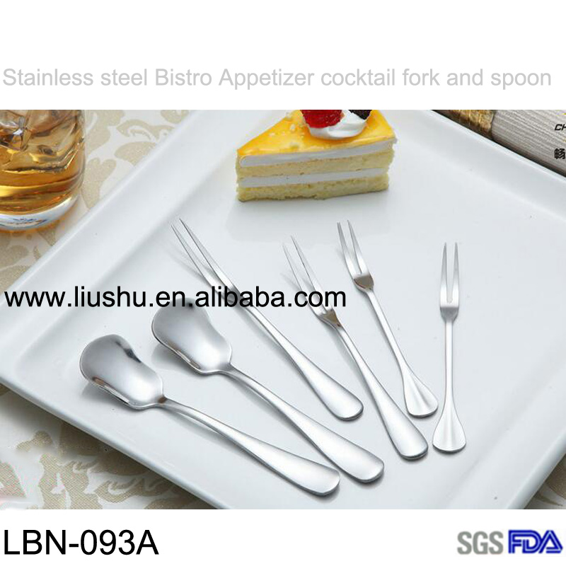 Stainless steel two prong fruit fork and bistro appetizer cocktail fork and dessert spoon