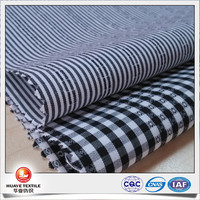 cotton polyester black plaid and stripe poplin silk-like fabric for mens shirt