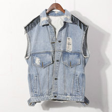 wholesale 100% cotton ripped light blue jean women denim vest