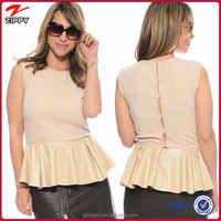 Felling Pretty Peplum Top Beige Ladies Casual Clothes For Summer