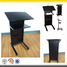 Black Color Metal Floor Lectern, Multimedia Lectern Podium in School, Hotel, Market