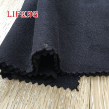 92% poly 8% spandex weft knitted stretch black synthetic micro suede fabric