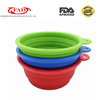 Hot selling food grade silicone collapsible pet dog travel feeder bowl