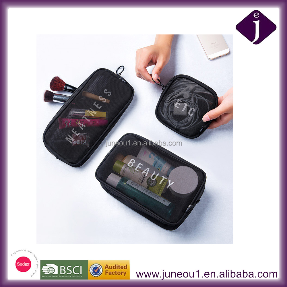 The New 3 Pieces Set Black mesh Cosmetic Bag portable wash bag for makeup brushes Charging line