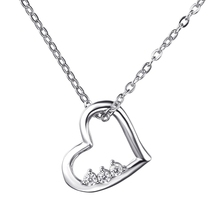 heart sterling silver pendant necklaces for women