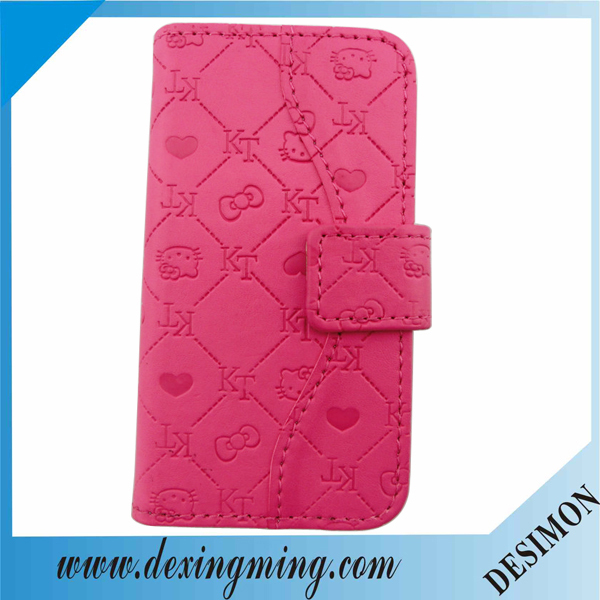 Desimon factory functional Hello kitty style universal smart phone wallet style leather case for Samsung Galaxy S4