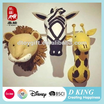 New products animal head plush material wall decoration