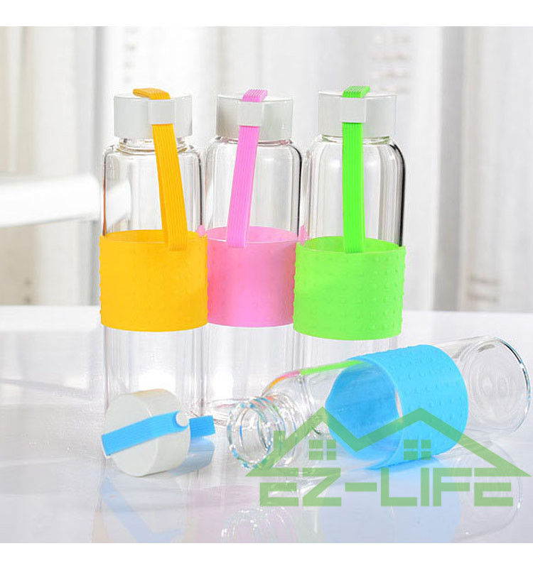 Promotional 360ml BPA free glass sports water bottles
