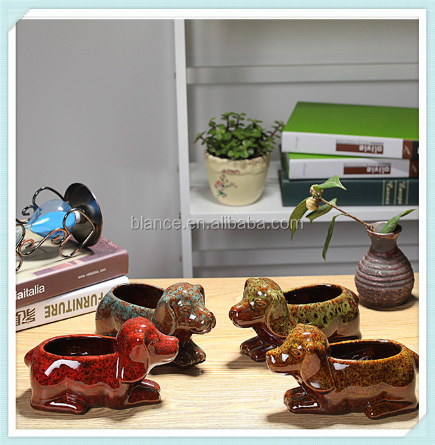 3d ceramic dog flower pot with dog shape for child