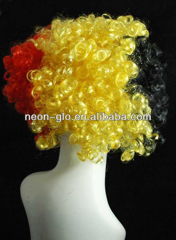 Red, Yellow and Black LED Curly Wig,3-colored Party Disco Afro Clown Hair Football Fan Adult Child Costume Curly Wig