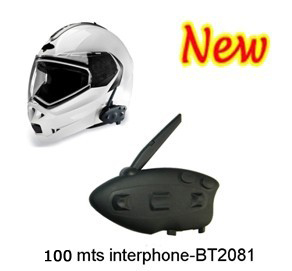 Motorcycle Helmet Headset with Bluetooth/FM and 100M intercom - BT-12081