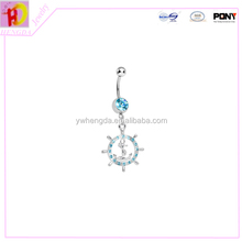 2015 new arrival Inch Crystal Gem Barbell Bar Ring Body Jewelry Piercing Tribal Dazzling Clear Gem Anchor belly botton ring