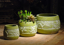 vintage art small round green color plant pot sets