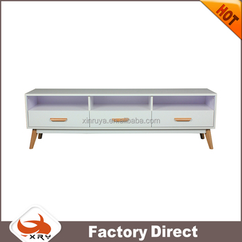 New design good quality MDF white high gloss TV stand with drawer