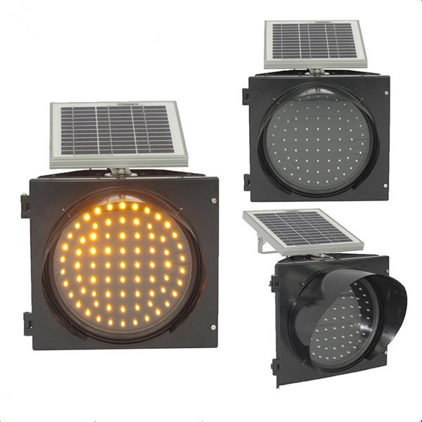 Yellow solar led flashing light road construction safety traffic warning light