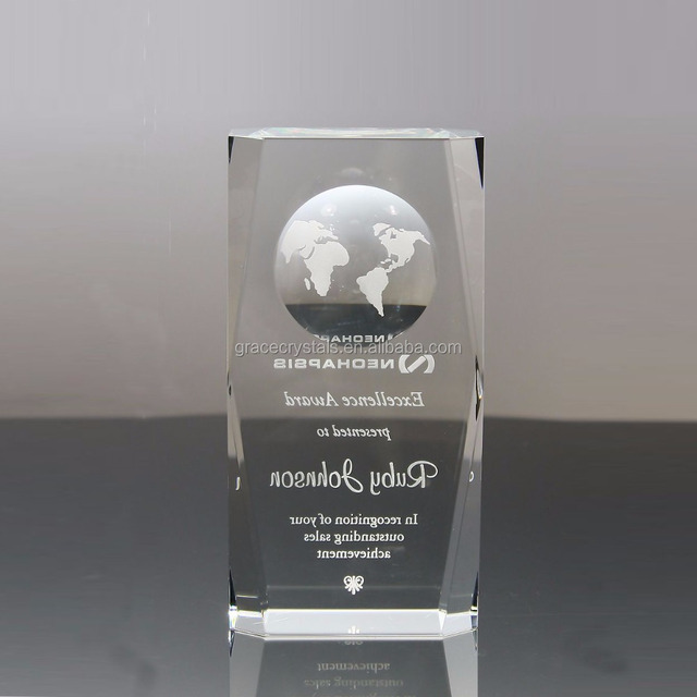 Laser engraved plaque with crystal earth globe