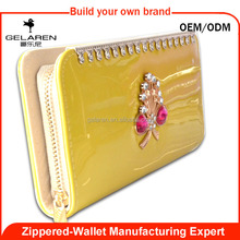 Crystal Decoration Cheap PU Leather Women Wallet Purse