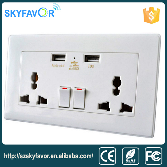 New design with double usb charger lighting switch 2 way electric socket smart wall light switch and socket for home