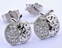 Elegant Custom Jewelry 925 sterling silver Metal CZ Stud Earrings (ED227)