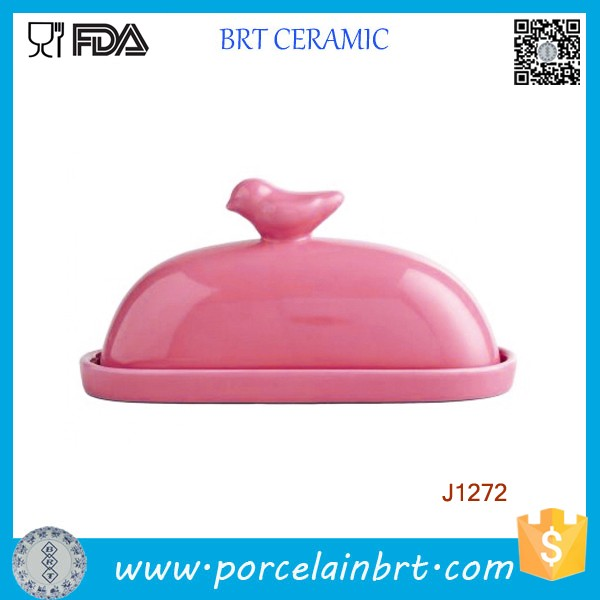 Pink High Quality Ceramic Butter Plate with Lid
