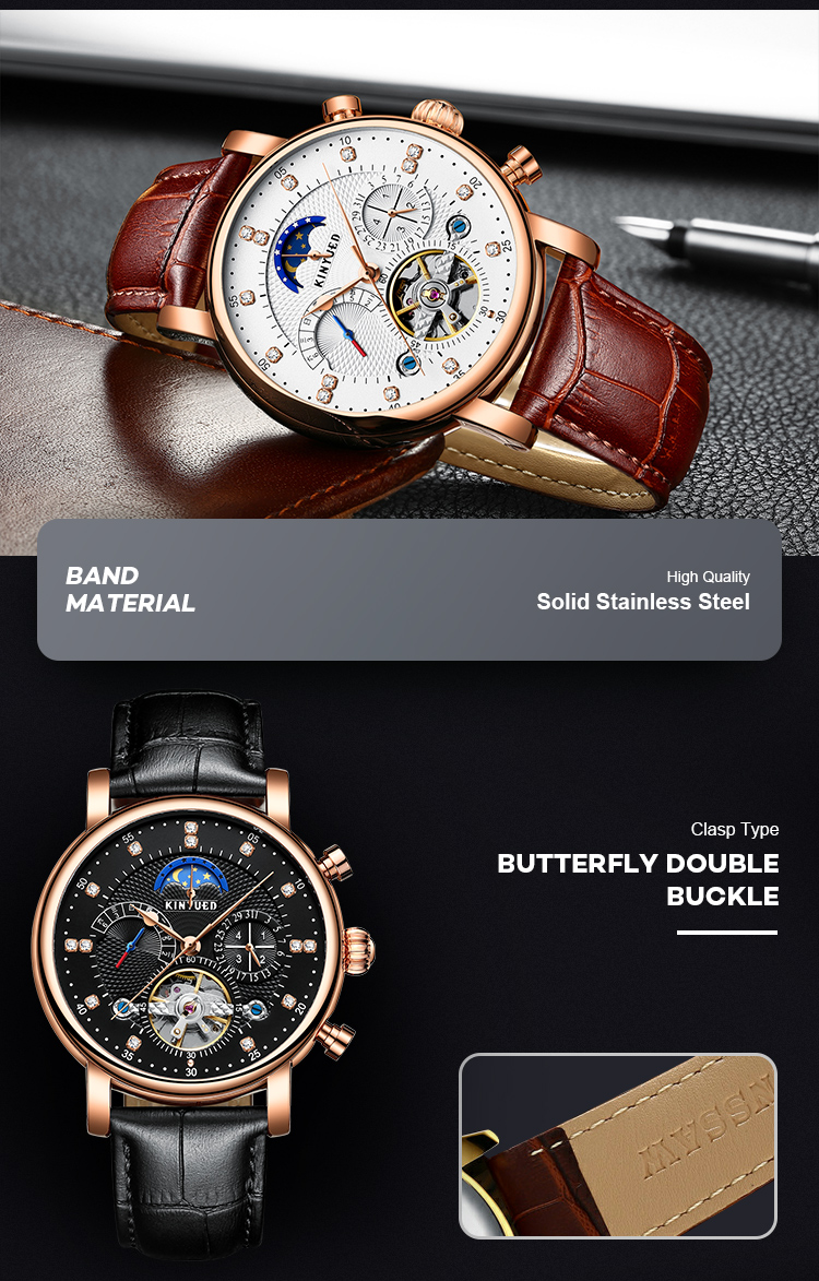 Fashion leather watches men luxury brand chronograph moon phase automatic mechanical watch