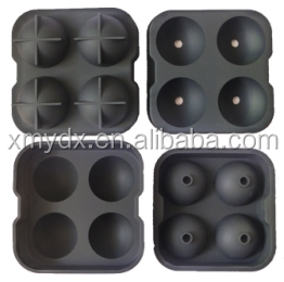 Round shape silicone ice cube tray maker, silicone 4 ice tray, silicone whiskey ice ball tray