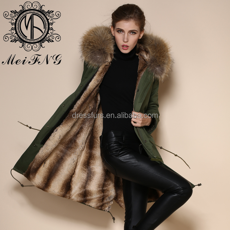Natural Color Faux Rabbit Fur coat with over size raccoon fur collar hooded