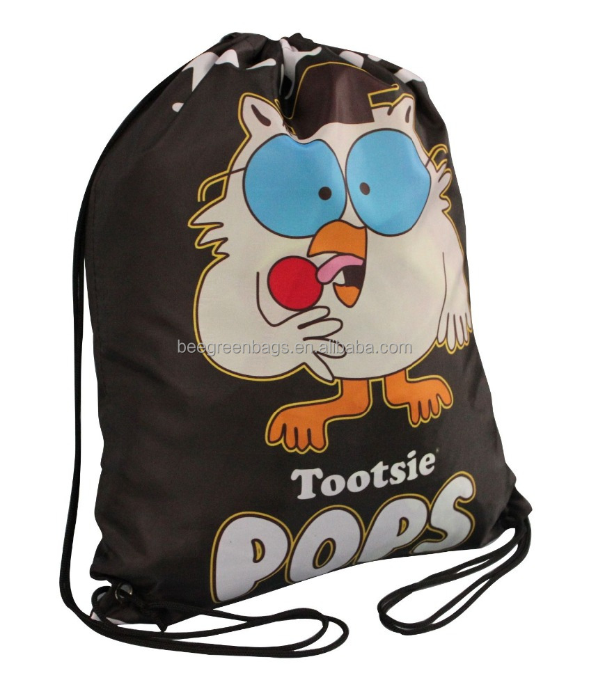 Cute design gas sublimation drawstring bag for kids and school