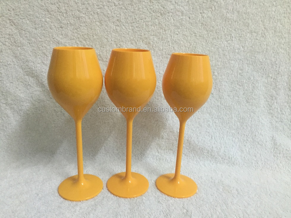 Unbreakable YELLOW CHAMPAGNE FLUTES FOR VEUVE CLICQUOT champagne <strong>glass</strong>