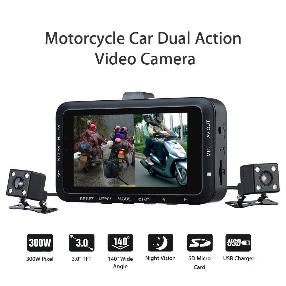 "DV168 3"" LCD Motorcycle Biker Car Dash DVR Dual Camera Video Recorder Camcorder"