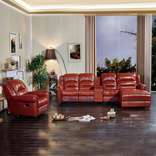 Traditional recliners, genuine leather modern reclining loveseat sofa 9905