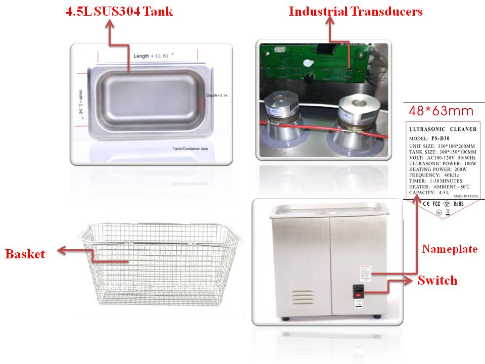 Stainless steel SUS304 lab ultrasonic cleaner PS-D30 with heater