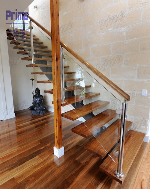 L shaped solid wood staircase stairs designs indoor wooden for Indoor railing design
