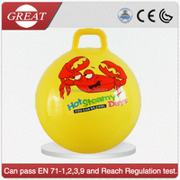 smiling face pattern infaltable hippity jumping handle ball bouncer ball toy for child