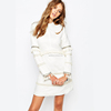 ladies fashion clothing women mini long sleeve dress in white