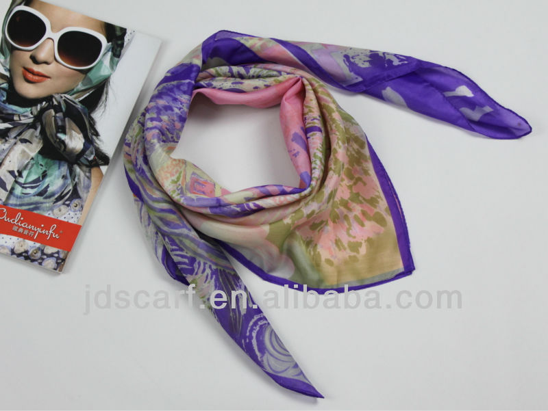 embroidered square scarf JDY-195 # 100% silky polyester Printing scarf digital printed scarf