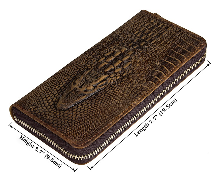 8067R Popular Design Real Cowhide Zippered Clutch Wallet Card Holder China Wholesale