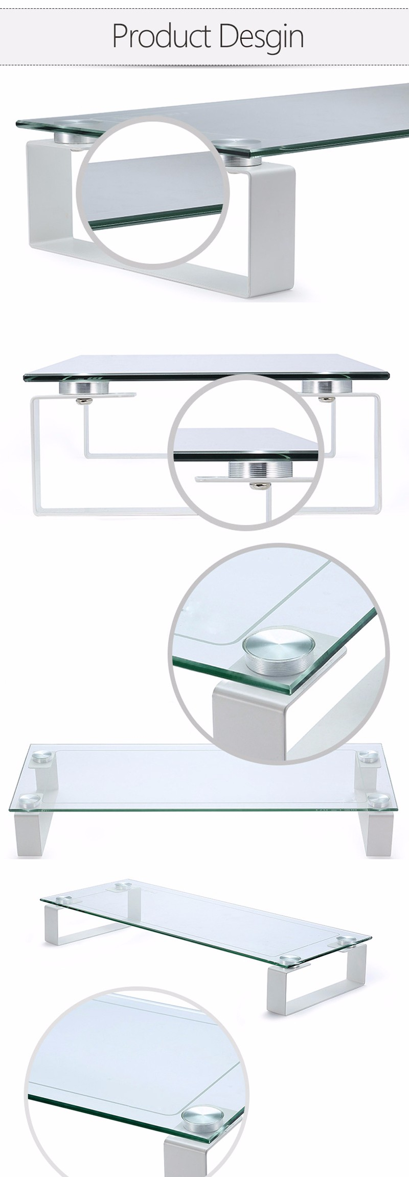 Wholesale Practical Tempered Glass Top Computer Monitor Riser Stand