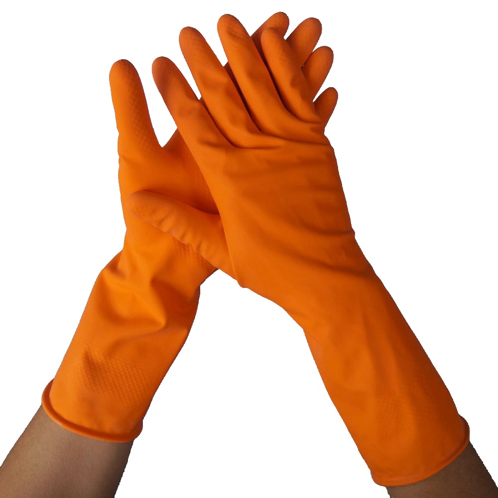 yellow household latex long rubber glove